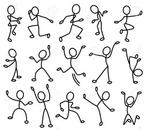 7261860-The-stylised-contours-of-people-in-movement-Part1-Stock-Vector-people-cartoon-dancing-1